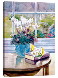 Canvas print  Flowers and book on table - Julia Rowntree