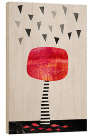 Wood print  The Red Tree - Elisabeth Fredriksson