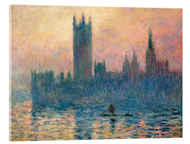 Acrylic print  Parliament in London at sunset - Claude Monet