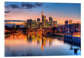 Acrylic print  Frankfurt skyline at sunset reflected in the Main - HADYPHOTO