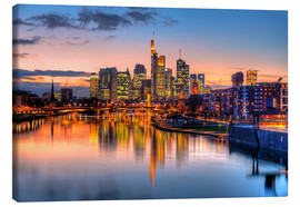 Canvas print  Frankfurt skyline at sunset reflected in the Main - HADYPHOTO
