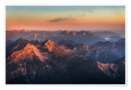 Premium poster  Alps Panorama from Zugspitze at Sunrise - Andreas Wonisch