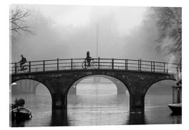 Acrylic print  Amsterdam canal in black and white - George Pachantouris
