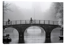 Canvas print  Amsterdam canal in black and white - George Pachantouris