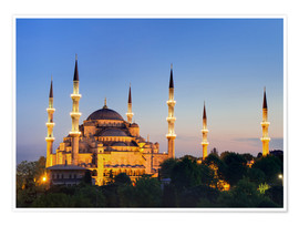 Premium poster Blue Mosque at twilight
