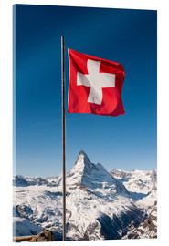 Acrylic print  Matterhorn with swiss flag. Zermatt, Switzerland. - Peter Wey
