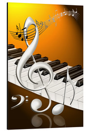 Aluminium print  dancing notes with clef and piano keyboard - Kalle60