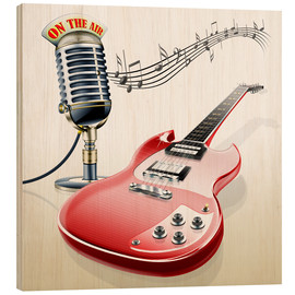Wood print  Electric guitar with microphone and music notes - Kalle60