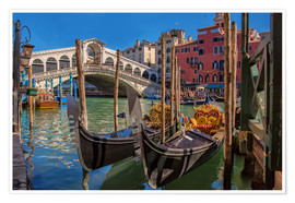 Premium poster Venice Gondola at Rialto bridge