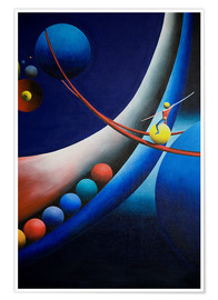 Premium poster Tightrope walk among planets
