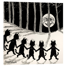 Acrylic print  Cats dancing at full moon - Louis Wain