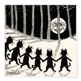 Premium poster  Cats dancing at full moon - Louis Wain