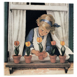 Acrylic print  Potting tulips - Jessie Willcox Smith