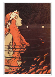 Premium poster  Mermaid in a pool with goldfish - Franz Hein