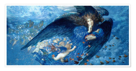 Premium poster  Night with her train of stars - Edward Robert Hughes