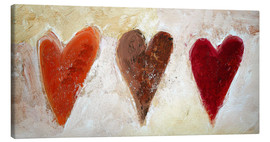 Canvas print  3 hearts - Tina Melz