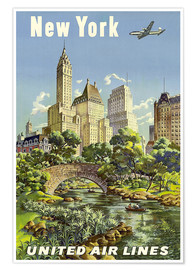 Premium poster  New York United Airlines - Travel Collection
