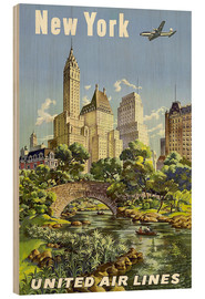 Wood print  New York United Airlines - Travel Collection