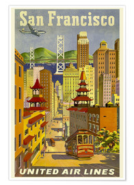 Premium poster  United Airlines, San Francisco - Travel Collection
