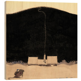 Wood print  The House at the foot of the Mountain - John Bauer