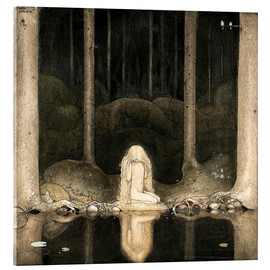 Acrylic print  Princess Tuvstarr gazing down into the dark waters of the forest tarn - John Bauer