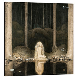 Aluminium print  Princess Tuvstarr gazing down into the dark waters of the forest tarn - John Bauer