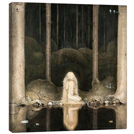 Canvas print  Princess Tuvstarr gazing down into the dark waters of the forest tarn - John Bauer