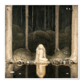 Premium poster  Princess Tuvstarr gazing down into the dark waters of the forest tarn - John Bauer