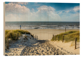 Wood print  Path through the dunes to the beach - Peter Roder
