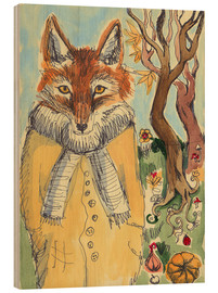 Wood print  Autumn Fox - Katie O'Hagan
