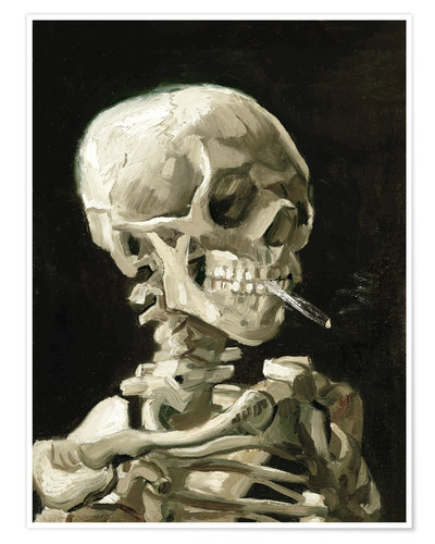 Premium poster Skeleton with a burning cigarette