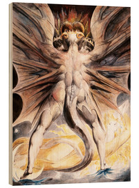 Wood print  The great red dragon and the woman with the sun - William Blake