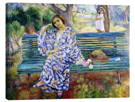 Canvas print  Young Woman Sitting on a Bench - Henri Lebasque