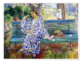 Premium poster  Young Woman Sitting on a Bench - Henri Lebasque