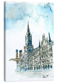 Canvas print  Munich City Hall Aquarell - M. Bleichner