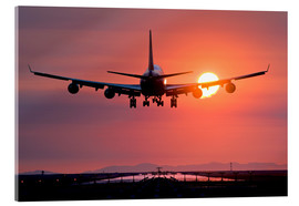 Acrylic print  Aeroplane landing at sunset - David Nunuk