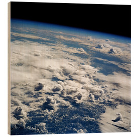 Wood print  Thunderstorms, space shuttle image - NASA