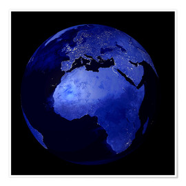 Premium poster Africa and Europe at night