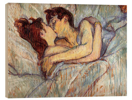 Wood print  In Bed, The Kiss - Henri de Toulouse-Lautrec