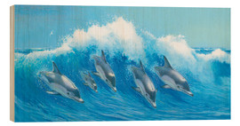 Wood print  Leaping Dolphins - John Butler