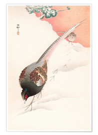 Premium poster  A Pair of Pheasants in the Snow - Ohara Koson