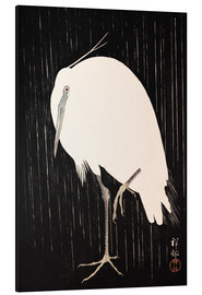 Aluminium print  White Crane in the rain - Ohara Koson
