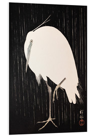 Foam board print  White Crane in the rain - Ohara Koson