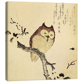 Canvas print  Owl in blooming magnolia - Kubota Shunman