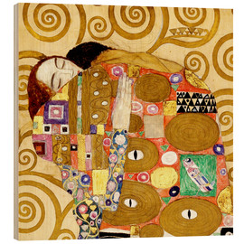 Wood print  The hug - Gustav Klimt