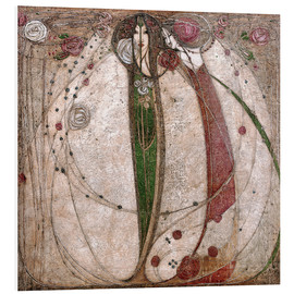 Foam board print  The white rose and the red rose - Margaret MacDonald Mackintosh
