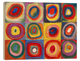 Wood print  Colour study - squares and concentric rings - Wassily Kandinsky