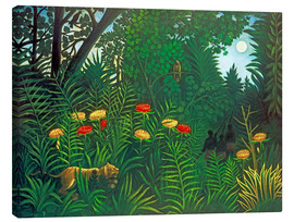 Canvas print  Exotic landscape with tiger and hunters - Henri Rousseau