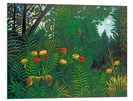 Foam board print  Exotic landscape with tiger and hunters - Henri Rousseau