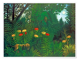 Premium poster Exotic landscape with tiger and hunters